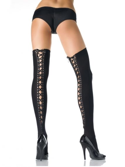 Чорапи - OPAQUE THIGH HI W/ LACE UP BACK O/S BLK
