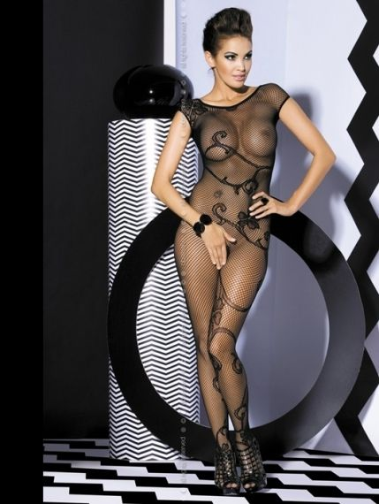 Мрежесто боди - Ob Bodystocking F201 black S/M